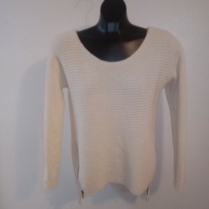 Bar III White Sweater Acrylic & Wool Side Zip Med